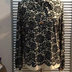 MICHAEL KORS szL blk&cream lace print blouse w/tie